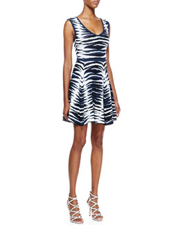 Milly Ikat-Jacquard Flared Dress