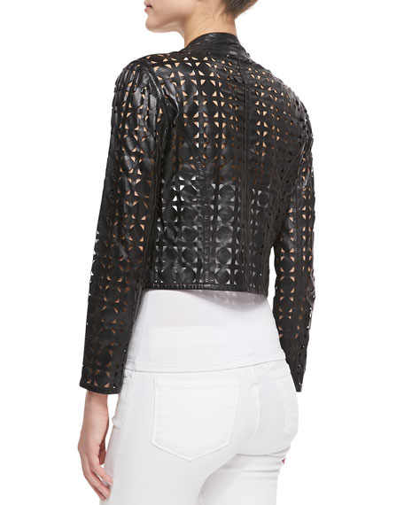 Circle-Perforated Cropped Leather Jacket
