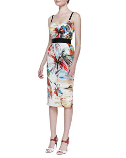 Milly Parrot-Print Bustier Dress
