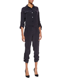 Milly Silk Cargo-Pant Jumpsuit