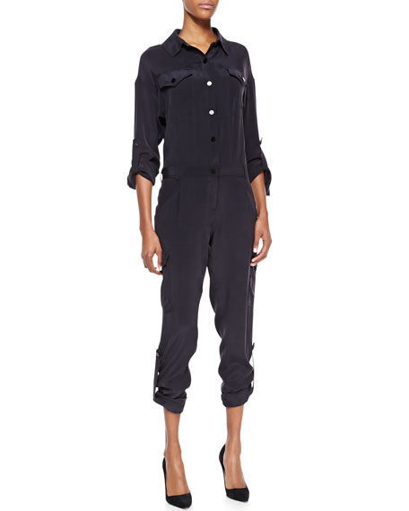 Silk Cargo-Pant Jumpsuit