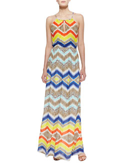 Milly Chevron-Print Halter Maxi Dress