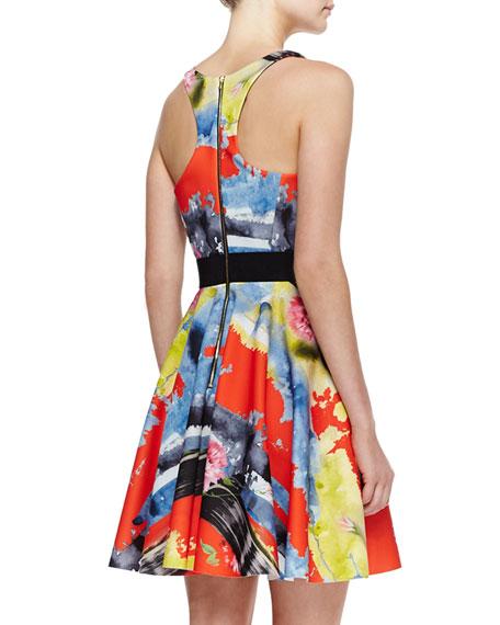 Scoop-Neck Printed A-Line Dress