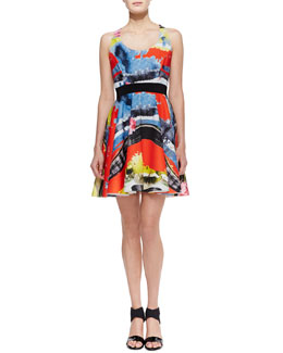 Milly Scoop-Neck Printed A-Line Dress