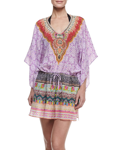 Printed Silk Drawstring Coverup Mini Dress