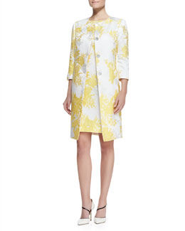 Albert Nipon 3/4-Sleeve Jacquard Jacket with Sheath, Marigold Print