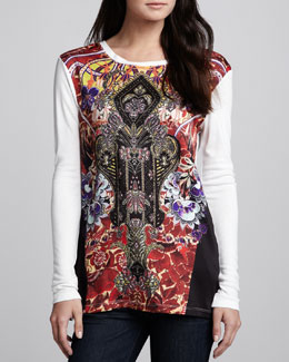 Just Cavalli Printed-Front Jersey Blouse