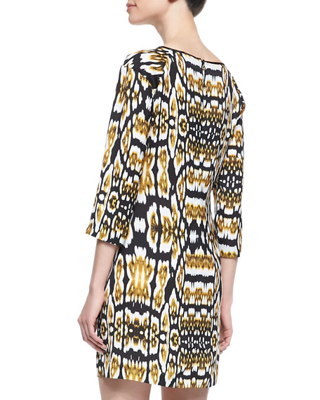 Printed 3/4-Sleeve Dress