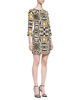 Just Cavalli Printed 3/4-Sleeve Dress