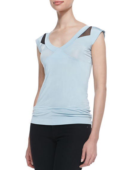Sleeveless Mesh Cutout Blouse, Soft Turquoise