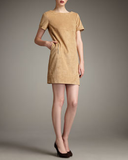 Phoebe by Kay Unger Sueded Zip-Detail Dress