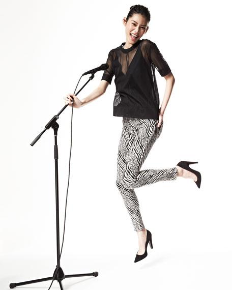 Midrise Super Skinny Pants, Abstract Zebra