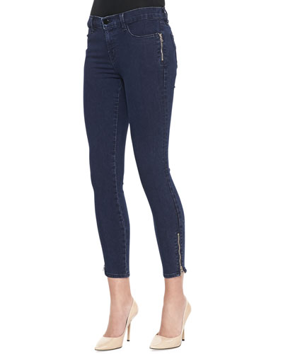 J Brand Jeans Tali Cropped Zip Jeans, Blue Depth