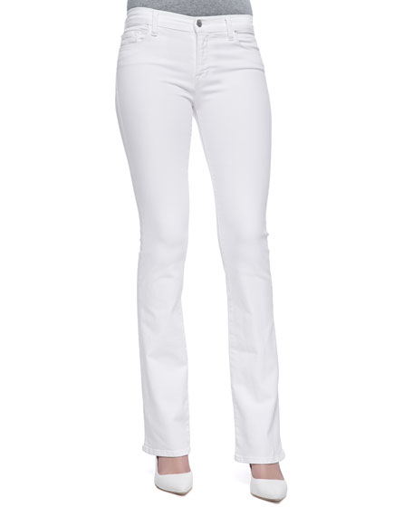 Brooke Slim Boot-Cut Jeans, Blanc