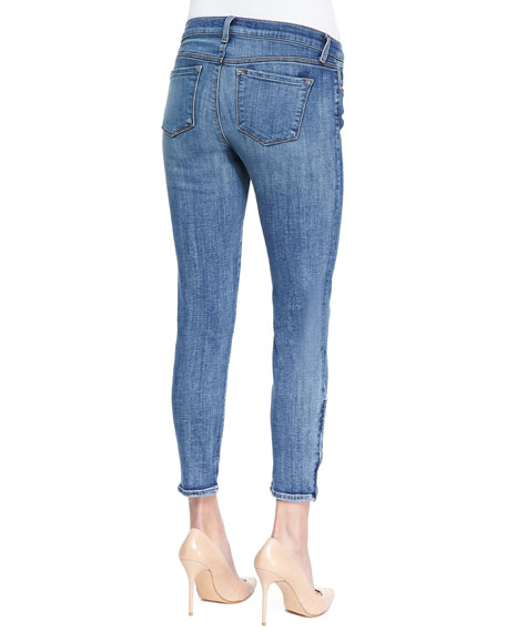 835 Denim Ankle Zip Capri Pants, Tone
