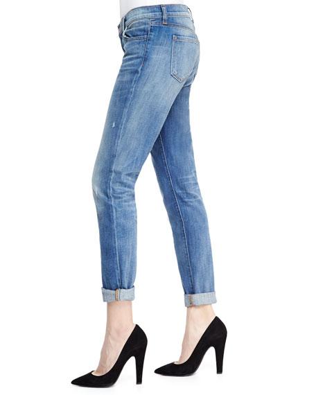 Jake Slim Boy Cut Cherish Faded Distressed Cuffed Jeans