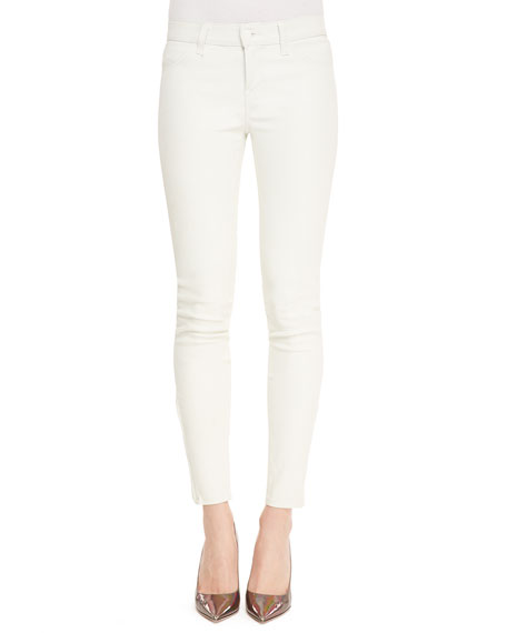 Cropped Leather Skinny Pants