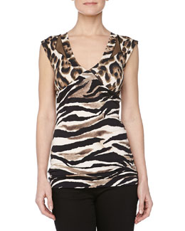 Just Cavalli Leopard-Print V-Neck Jersey Top