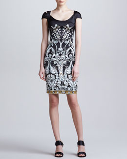 Just Cavalli Medallion-Print Dress, Black/White
