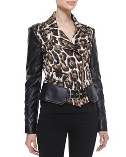 Just Cavalli Leopard Print Jacket with Side Zipper