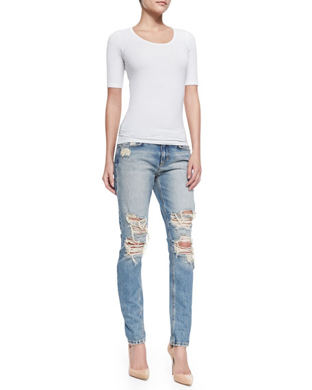 Cali Slouched & Slim Distressed Jeans, Light Blue