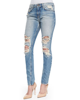 Joe's Jeans Cali Slouched & Slim Distressed Jeans, Light Blue