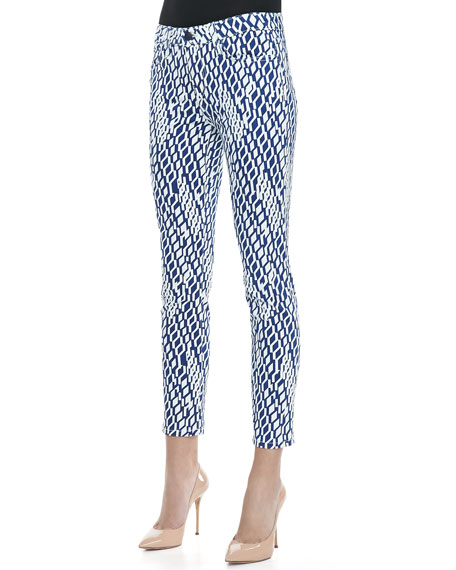 Geometric Print  High Water  Skinny Jeans