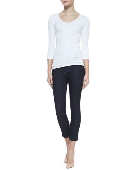 Ellie Cropped Skinny Jeans, Dark Blue