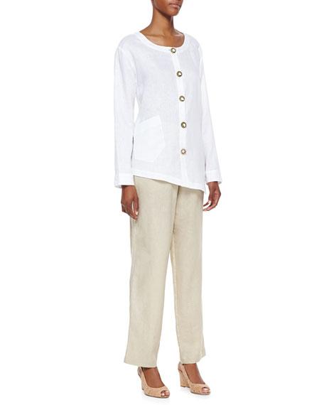 Unlined Straight-Leg Linen Pants, Women's