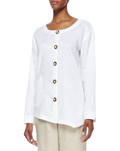 Linen Asymmetric Shirt, Petite