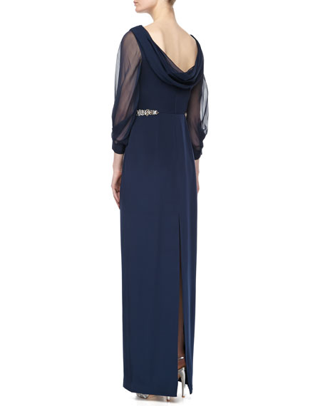 Draped Bead-Banded Column Gown