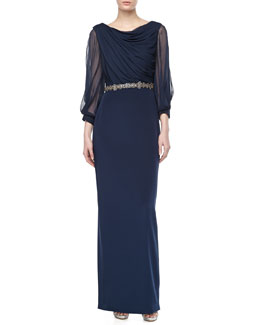 Notte by Marchesa Draped Bead-Banded Column Gown