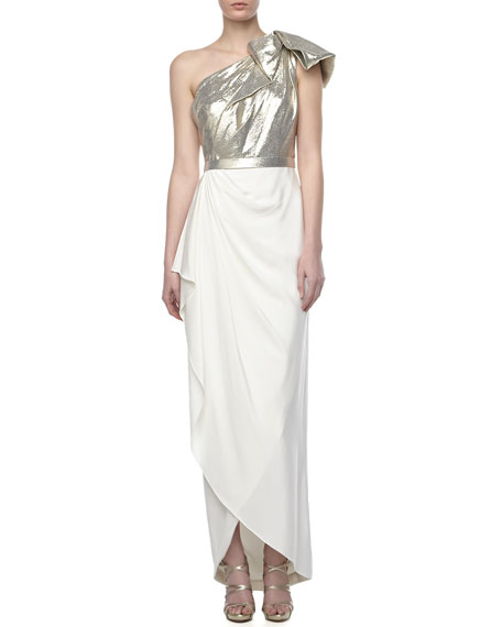 One-Shoulder Combo Gown, Gold/Ivory