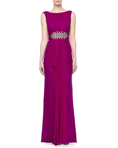 Notte by Marchesa Cascading Drape-Front Gown
