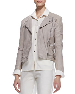 Andrew Marc x Richard Chai Waxed Lambskin Leather Leandra Jacket, Wisteria