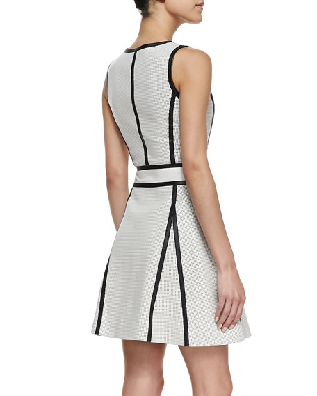 Perforated Leather Two-Tone Dress