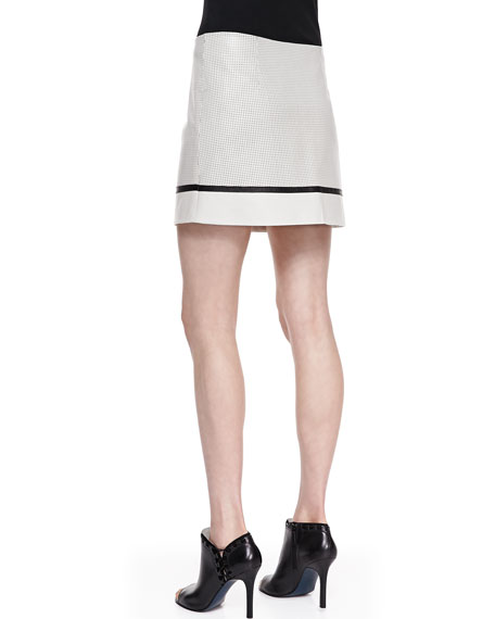 A-Line Perforated-Leather Skirt