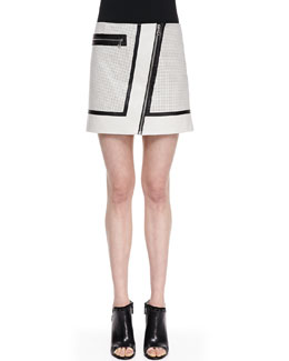 Andrew Marc x Richard Chai A-Line Perforated-Leather Skirt