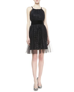 Notte by Marchesa Sequined Velvet Cocktail Dress