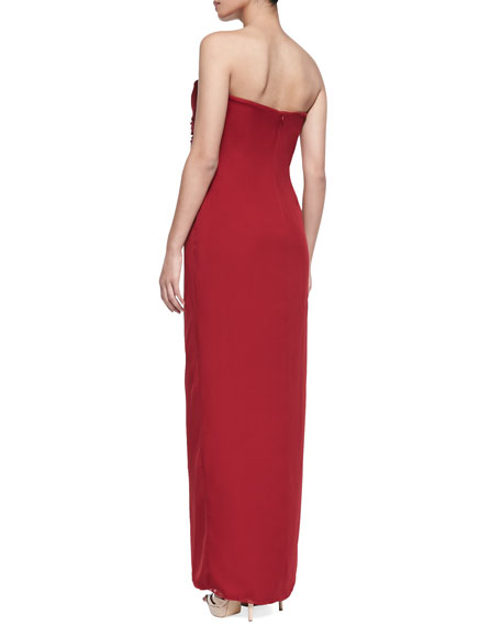 Women's Strapless Beaded-Waist Draped Gown, Crimson
