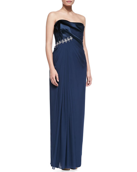 Strapless Chiffon Gown with Crystals, Marine Blue
