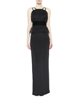 Notte by Marchesa Crepe & Tulle Peplum Column Gown