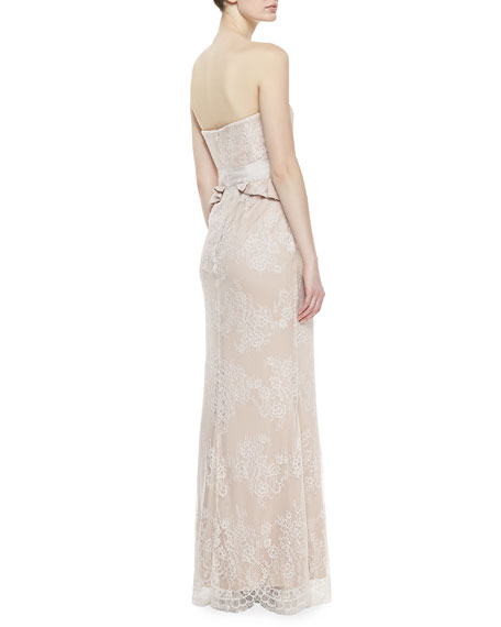 Strapless Lace Gown, Blush