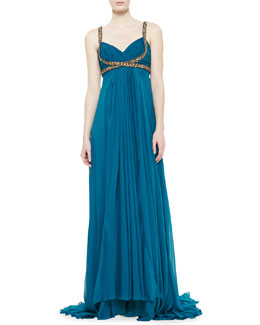 Notte by Marchesa Silk Chiffon Embellished-Trim Gown, Peacock