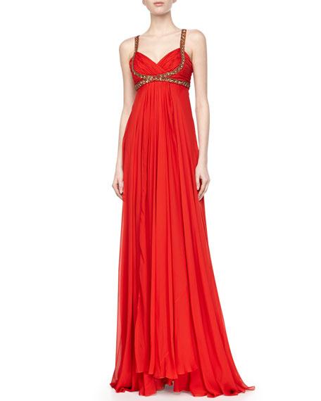 Silk Chiffon Embellished-Trim Gown, Scarlet