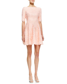 ML Monique Lhuillier Elbow-Sleeve Lace Cocktail Dress
