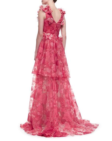 Christian Siriano Sleeveless Petal-Applique Gown