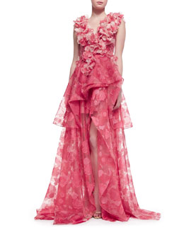 Christian Siriano Sleeveless Petal-Applique Gown