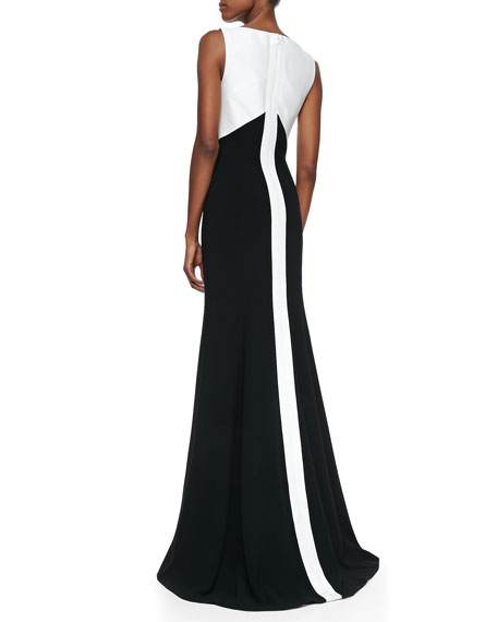 Sleeveless Cutout Colorblock Gown