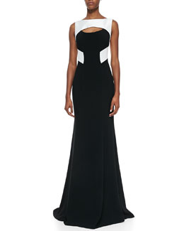 Theia Sleeveless Cutout Colorblock Gown